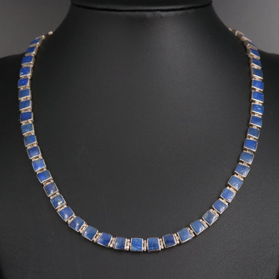 950 Silver Lapis Lazuli Link Necklace