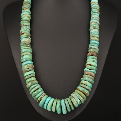 Turquoise Graduated Heishi Necklace with Sterling Clasp