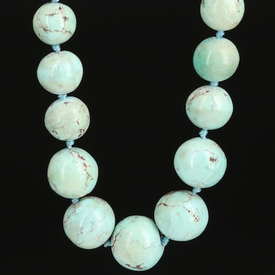 Knotted Turquoise Necklace with 14K Clasp