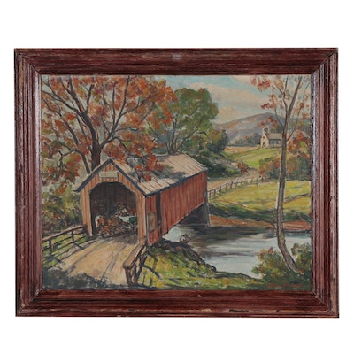William Fisher Oil Painting of Scenic Road, Mid-20th Century