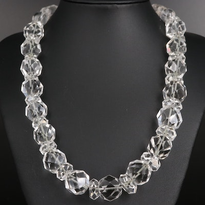 Rock Quartz Crystal Bead Necklace with Sterling Silver Clasp