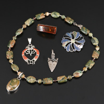 Sterling Silver Jewelry Featuring Mexican, Western Pieces and Abalone