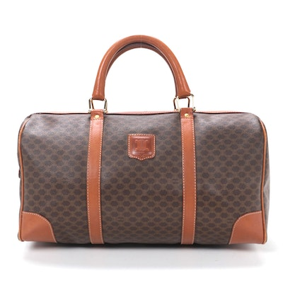 Celine Duffel in Macadam Canvas and Cognac Leather