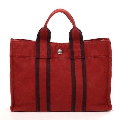 Hermès Paris Fourre Tout PM Tote in Red Canvas