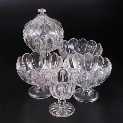 "Bryce ""Tulip"" Footed Glass Bowls and Compote, 19th c."