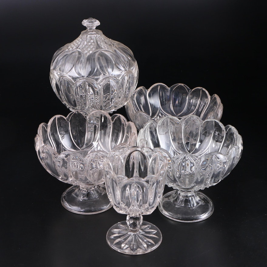 """Bryce """"Tulip"""" Footed Glass Bowls and Compote, 19th c."""
