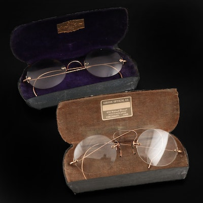 Gold Filled Tinted and Gold Plated Rimless Prescription Spectacles with Cases