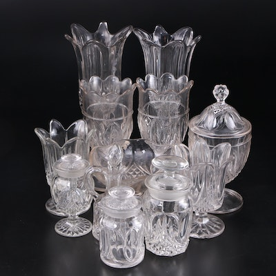"Bryce ""Tulip and Sawtooth"" Crystal Serving Pieces and Tableware, 19th C."