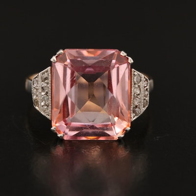 Art Deco Portuguese18K Rose Gold Sapphire and Diamond Ring with Platinum Accents
