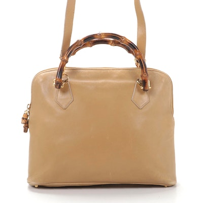 Gucci Bamboo Two-Way Satchel in Tan Leather