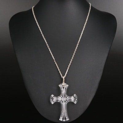 Waterford Crystal and Sterling Silver Cross Necklace