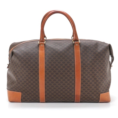 Celine Paris Duffel Bag in Macadam Canvas and Cognac Leather