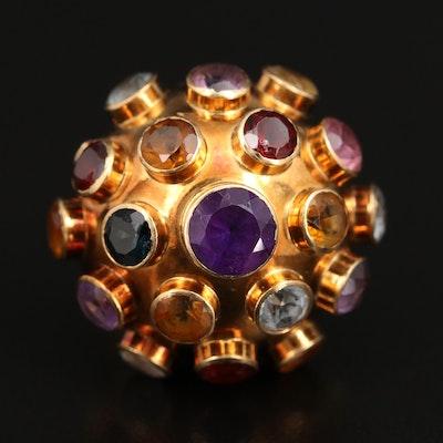 Vintage 18K Amethyst, Garnet and Gemstone Sputnik Ring