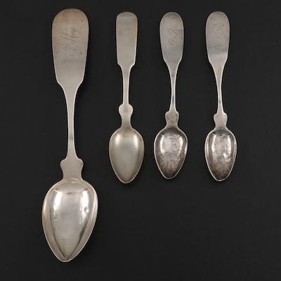 Scovil 800 and 900 Silver Fiddle Handle Teaspoons and Serving Spoon, 1830s