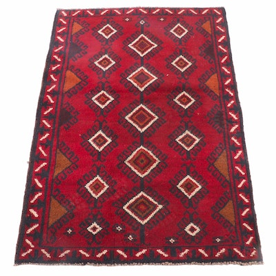 2'11 x 4'5 Hand-Knotted Afghani Baluch Tribal Wool Rug