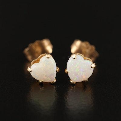14K Opal Heart Stud Earrings