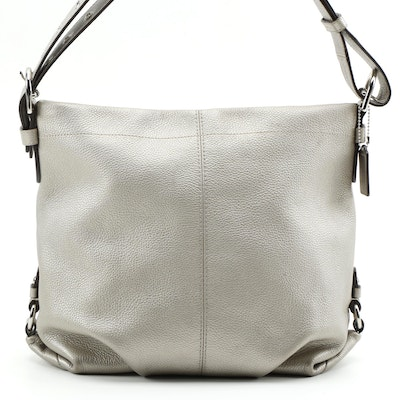 Coach Metallic Pebble Grain Leather Duffle Shoulder Bag