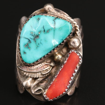 Signed Western Sterling Silver Turquoise and Coral Ring