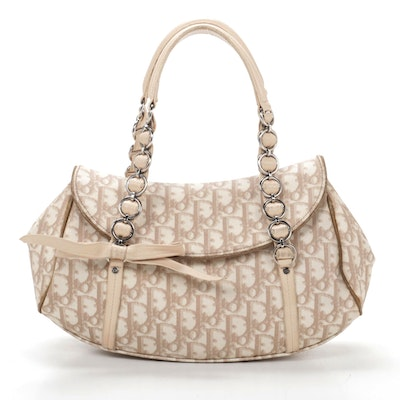 Christian Dior Romantique Trotter Coated Canvas and Leather Shoulder Bag