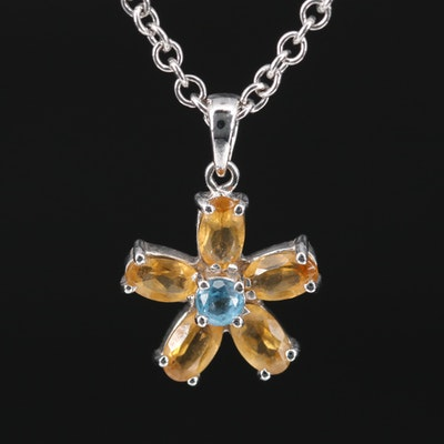 18K Citrine and Topaz Flower Pendant on 14K Cable Chain Necklace