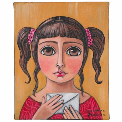 Claudia Garcia Folk Art Acrylic Painting of Girl with Envelope