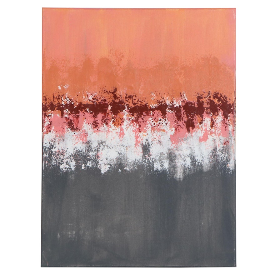 "Sanna Abstract Acrylic Painting ""Sweet Coral Sunset"""