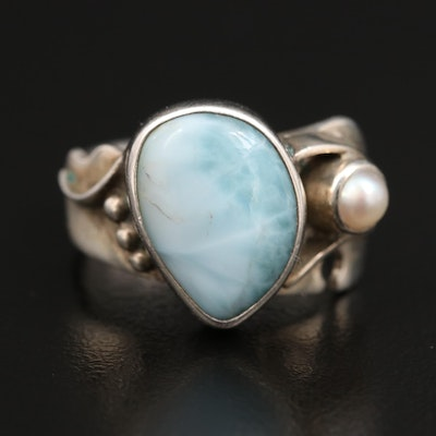 Modernist Robert Nilson Sterling Silver Larimar and Pearl Ring