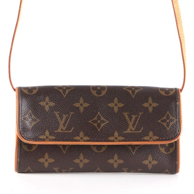 Louis Vuitton Pochette Twin PM Bag in Monogram Canvas with Leather Trim