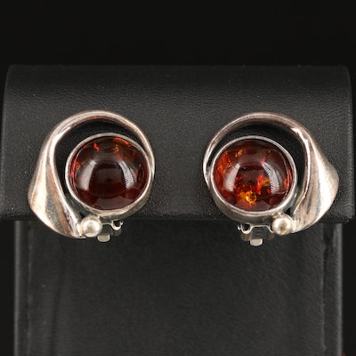 Polish Sterling Silver Amber Clip Earrings
