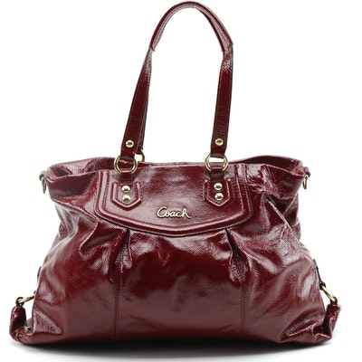Coach Ashley Oxblood Red Patent Leather Carryall Bag