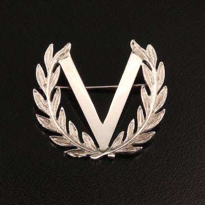 14K Victory Laurel Wreath Brooch