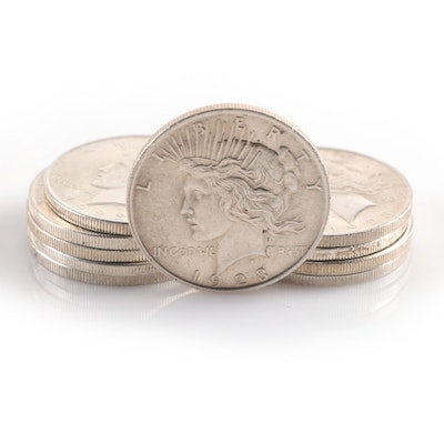 Ten 1923 Peace Silver Dollars