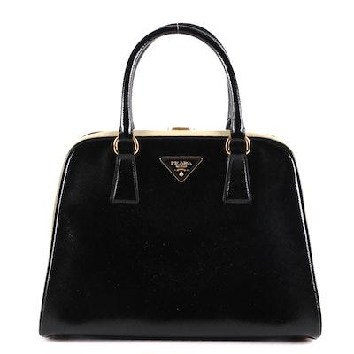 Prada Saffiano Leather Pyramid Frame Top Handle Bag
