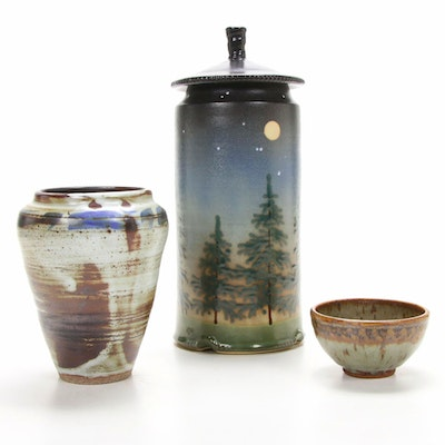 "Jonathan Kesler ""Twilight"" Lidded Jar and Other Handmade Stoneware Vessels"
