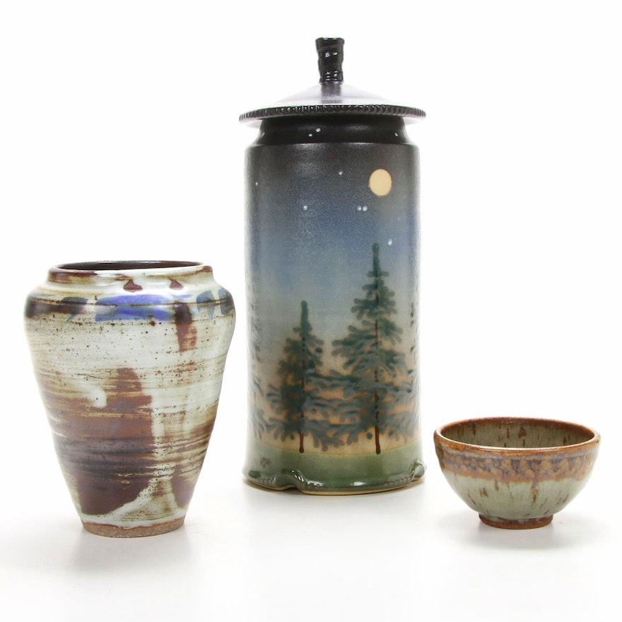 "Jonathan Kesler ""Twilight"" Lidded Jar and Other Handmade Stoneware Vessels"