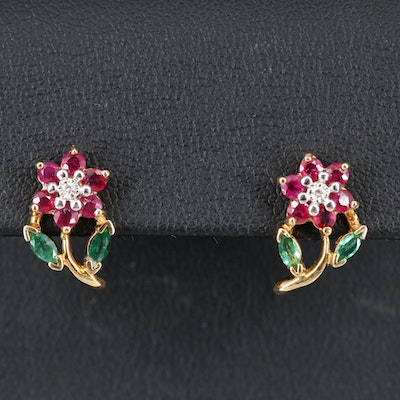 14K Diamond, Ruby and Emerald Flower Earrings
