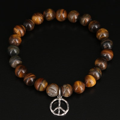 Tiger's Eye Expandable Bracelet with Peace Sign Charm