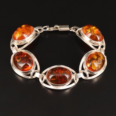 Polish Sterling Silver Amber Link Bracelet