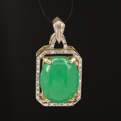 10K Jadeite and Diamond Pendant