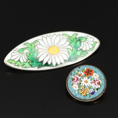 Antique Sterling Cloisonné Floral Brooch with Italian Micro-Mosaic Floral Brooch