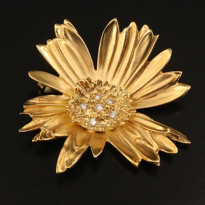 Marlene Stowe 18K Diamond Flower Brooch