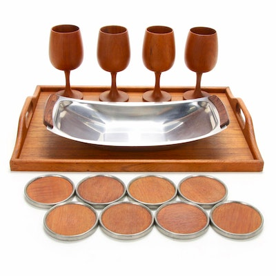 Teak Wood Tray, Coasters and Goblets with Danish Stainless Steel Platter