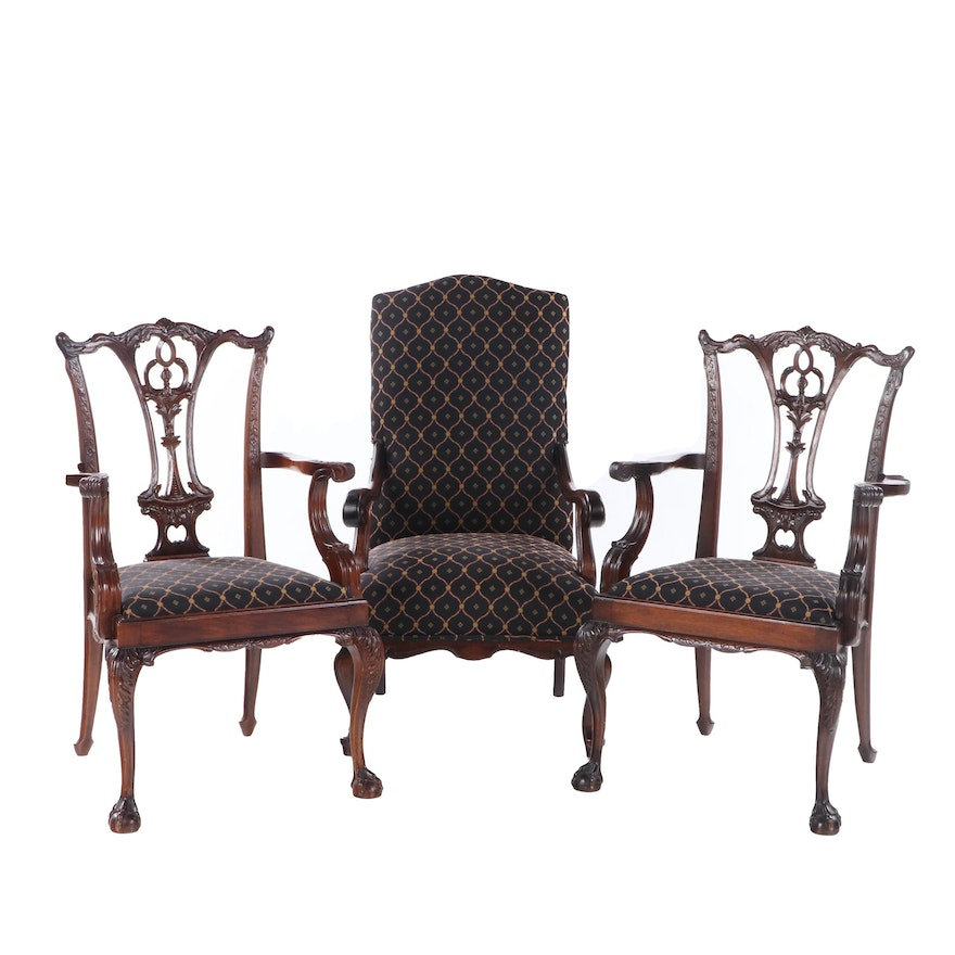 Pair of Chippendale Style Walnut Armchairs and Lolling Chair, Mid/Late 20th C.