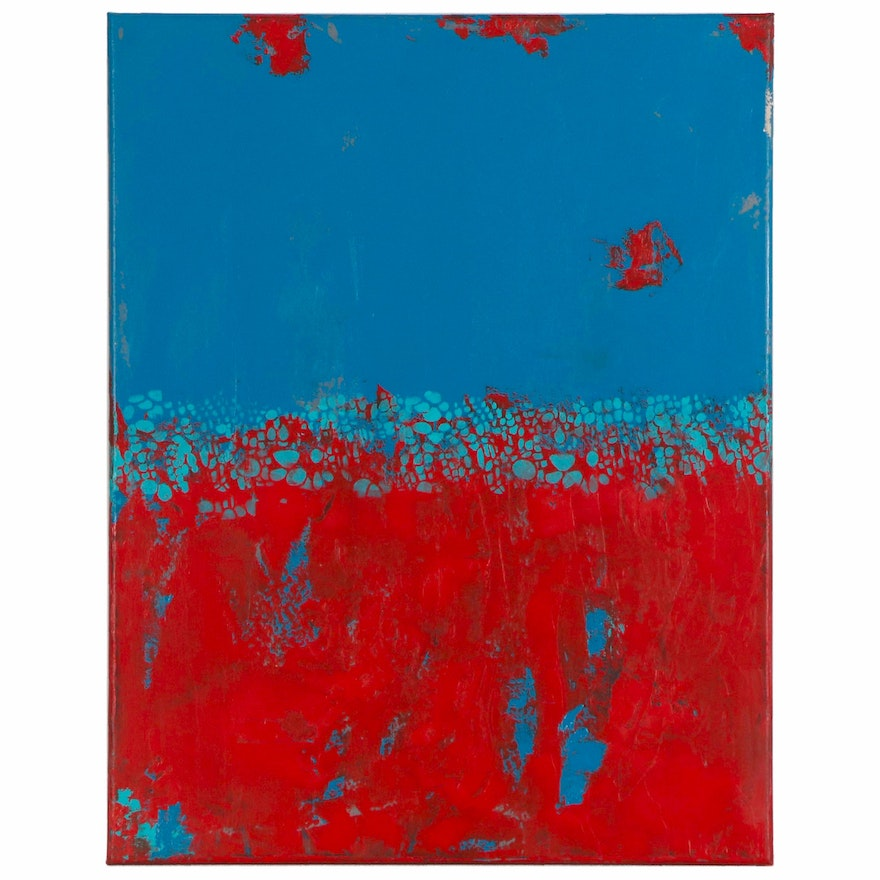 "Sanna Abstract Acrylic Painting ""Teal and Red,"" 2020"