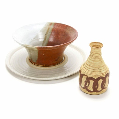 Ocepek Pottery Communion Jug, Glazed Stoneware Bowl and Platter
