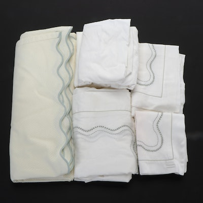 Schweitzer Linens Egyptian Cotton Pillowcases and Sheet Set with Matouk Coverlet