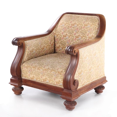 Victorian Walnut Framed Armchair with Bun Feet, Early 20th Century