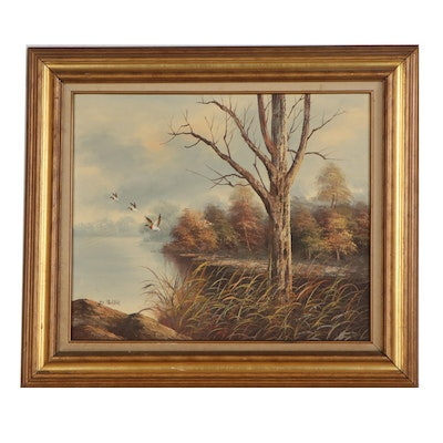 D. Porter Oil Painting of Lakeside Landscape, Late 20th Century