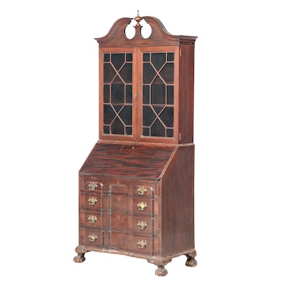 Chippendale Style Mahogany Block Front Secretary Bookcase, Early to Mid 20th C.