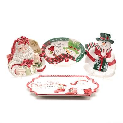 Fitz and Floyd Snowmen and Santa Decorated Ceramic Serveware